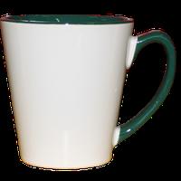 "Кружка керамика Латте ""внутри и ручка зеленая"" 12oz"