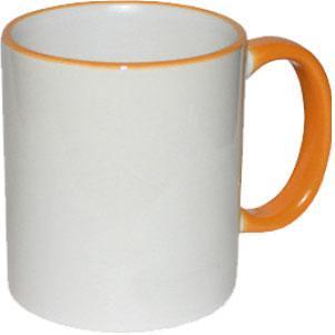 Кружка керамическая белая ободок и ручка оранжевая