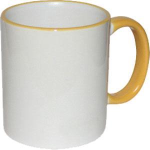 Кружка керамическая белая ободок и ручка желтая