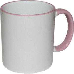 Кружка керамическая белая ободок и ручка розовая