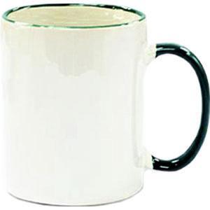 Кружка керамическая белая ободок и ручка зеленая
