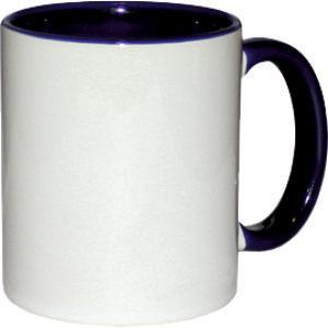 Кружка керамическая белая внутри и ручка т.синяя