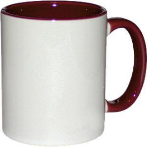 Кружка керамическая белая внутри и ручка бордовая