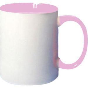 Кружка керамическая белая внутри и ручка розовая