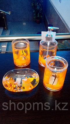 Стакан д/зубн.щеток оранжевые лепестки   ***, фото 2