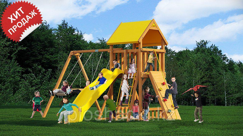 Детская площадка «Рим», скалодром,горка, качеля, домик с крышей