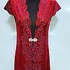 Женский национальный камзол из нежного велюра со стразами. Ниже колен.