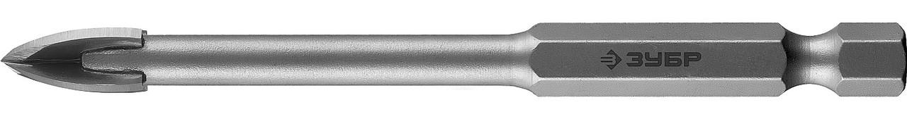 """(29845-08) Сверло ЗУБР """"ЭКСПЕРТ"""" по кафелю, керамике, с четырьмя режущими лезвиями, 8х85мм"""