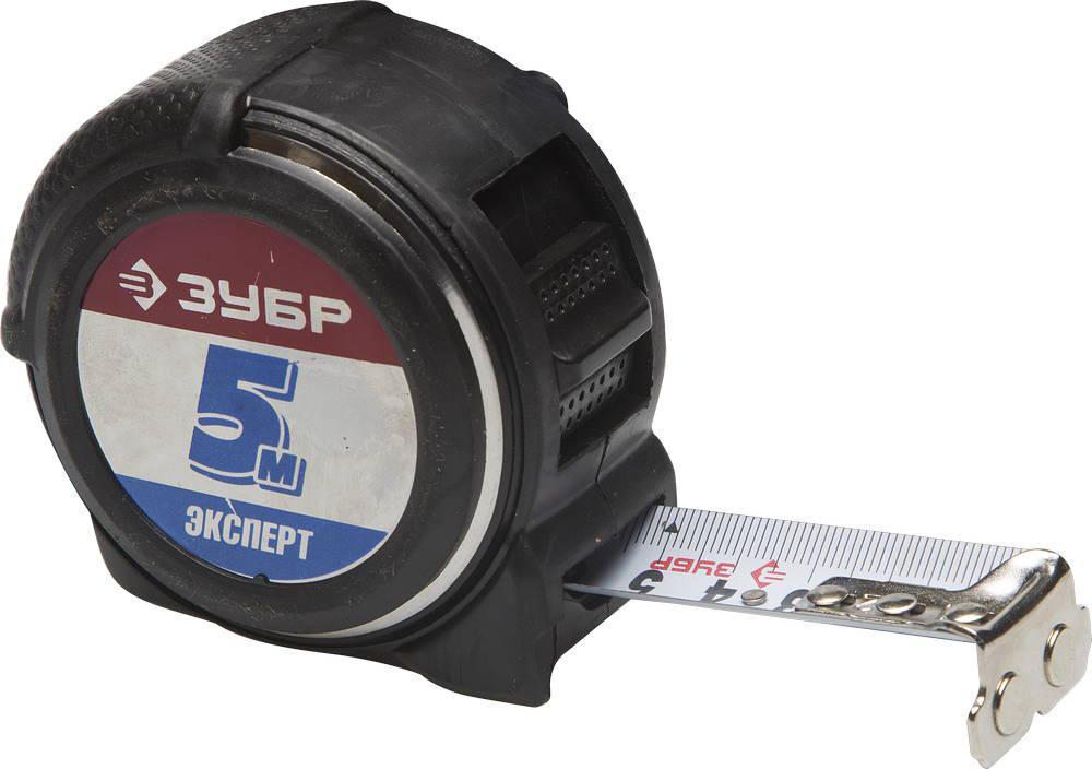 """(34053-05-25) Рулетка ЗУБР """"ЭКСПЕРТ"""", металлический обрезиненный корпус, полотно с нейл. нап. 5мх25мм"""