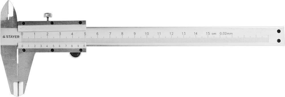 """(3442) Штангенциркуль STAYER """"СМ-150-0,1"""" двусторонний с глубиномером, нержавеющая сталь, 150мм"""