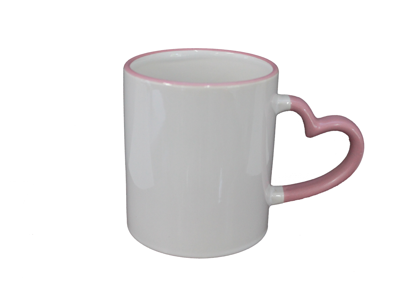 Кружка керамическая белая ободок  ручка сердце розовое