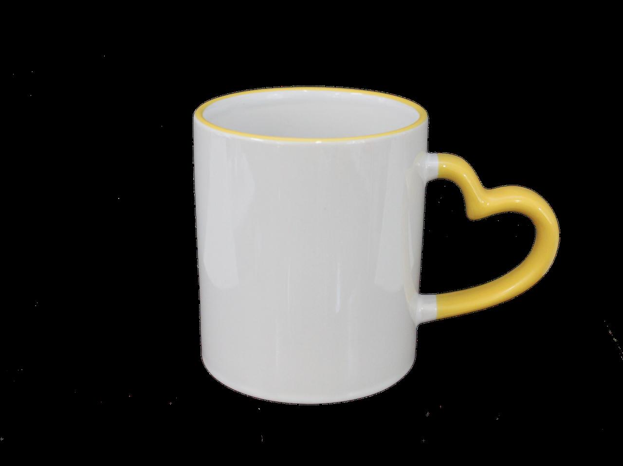 Кружка керамическая белая ободок и ручка сердце желтая