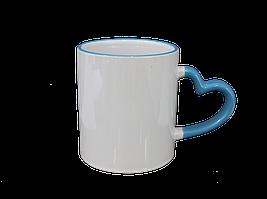 Кружка керамическая белая ободок и ручка сердце голубая