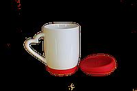 Кружка керамическая силиконовая крышка и дно красная