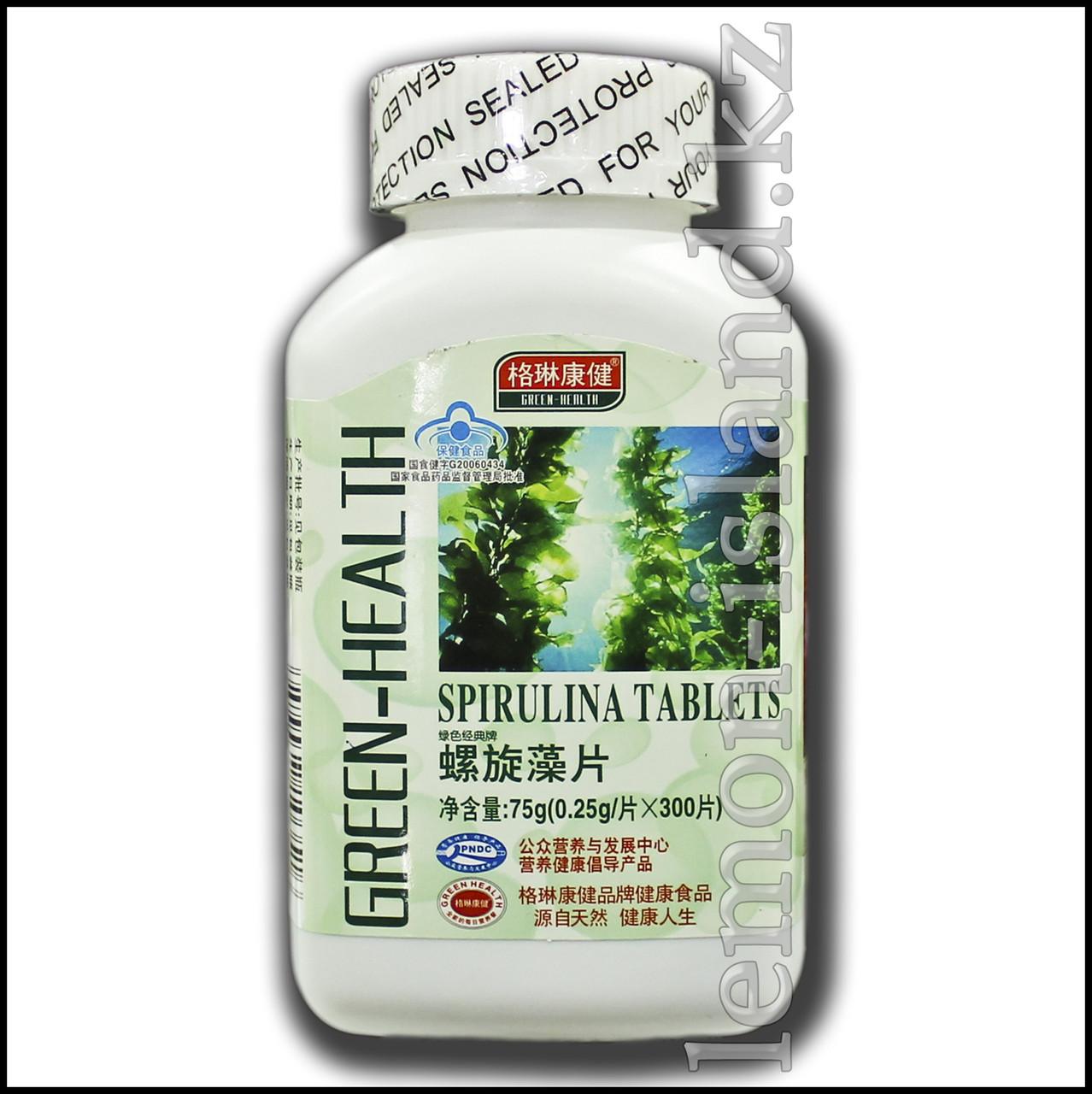 Спирулина от фабрики Green Health, 300 таблеток в упаковке.