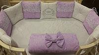 """Комплект в кроватку """"Царский"""" 7 предметов  (для прямоугольной кроватки)"""