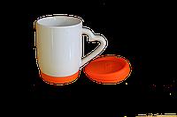 Кружка белая силиконовая дно и крышка оранжевая