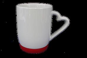 Кружка белая силиконовое дно красная