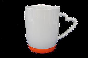 Кружка белая силиконовое дно оранжевое