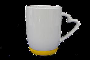 Кружка белая силиконовое дно желтое