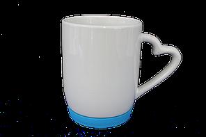 Кружка белая силиконовое дно голубое