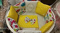 """Комплект в кроватку """"Перья"""" 7 предметов  (для прямоугольной кроватки)"""
