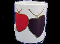 Кружка белая черно-красные сердца Хамелеон