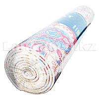 Коврик для йоги и фитнеса (йогамат) 6 мм белый с розовым принтом