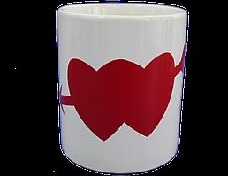 Кружка белая сердце красный Хамелеон