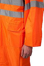 Плащ-дождевик ЗУБР 11617-52, сигнальный цвет, нейлоновый на молнии, размер 52-54, фото 3