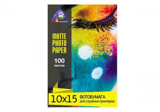 Матовая фотобумага INKSYSTEM 180g, 10x15, 100л. для печати на Epson L120