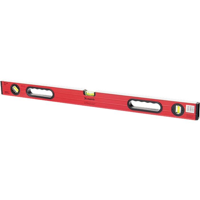 (34310) Уровень алюминиевый, 1200 мм, 3 глазка, ударопрочные заглушки, двухкомпонентные ручки// MATRIX
