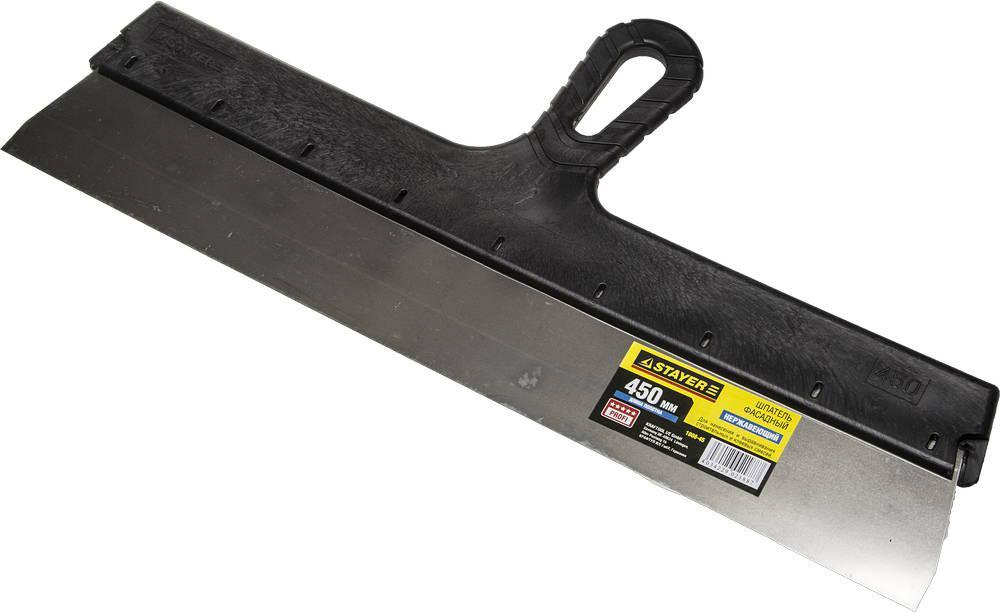 """(1008-45) Шпатель STAYER """"PROFESSIONAL"""" фасадный нержавеющий, с пластмассовой ручкой, 450мм"""