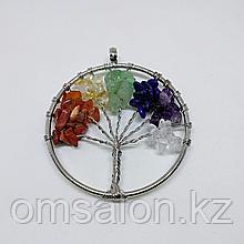Кулон Дерево жизни с натуральными камнями по 7 чакрам