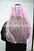 Фата с ободком на девичник розовая