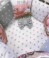 """Комплект в кроватку """"Акварель"""" 7 предметов  (для прямоугольной кроватки)"""