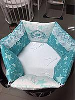 """Комплект в кроватку """"Звездное небо"""" 11 предметов  (для круглой-овальной кроватки)"""