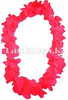 Гавайские бусы Леи из ярко-розовых цветов (диаметр по окружности 44-50 см)