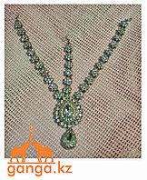 Тика - индийское украшение на голову, Серебристая со стразами