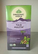 Чай Тулси с корнем Солодки, Органик Индия / Tulsi Mulеthi Tea, Organic India, 25 пакетиков