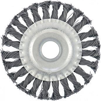 (74630) Щетка для УШМ 100 мм, посадка 22,2 мм, плоская, крученая металлическая проволока// MATRIX