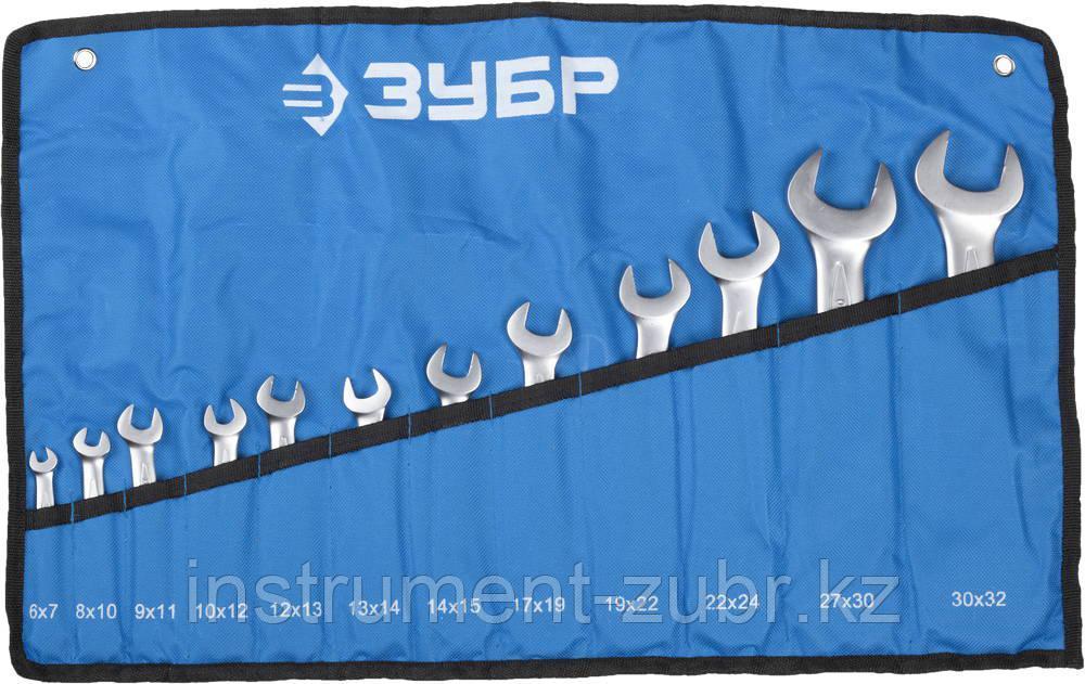 """Набор ЗУБР """"ПРОФИ"""": Ключ гаечный рожковый, Cr-V сталь, хромированный, 6х32мм, 12шт"""