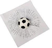 Наклейка на автомобиль Разбитое Стекло Футбольный мяч (белый)