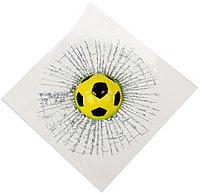 Наклейка на автомобиль Разбитое Стекло Футбольный мяч (желтый)
