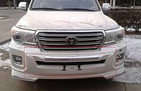Накладка (губа) переднего бампера на LC200 2012-15