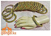 Браслет золотистый с камнями (взрослый), 1 кольцо