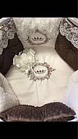 """Комплект в кроватку """"Кружевное чудо"""" 11 предметов  (для круглой-овальной кроватки)"""