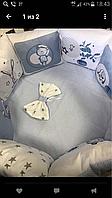 """Комплект в кроватку """"Мишки"""" 9 предметов  (для круглой-овальной кроватки)"""