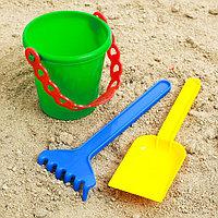 Набор для игры в песке №28 ( Ведёрко+лопатка,грабельки), фото 1