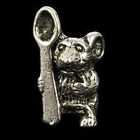 """Сувенир кошельковый металл """"Мышь с ложкой"""" 1,8х1 см, фото 1"""